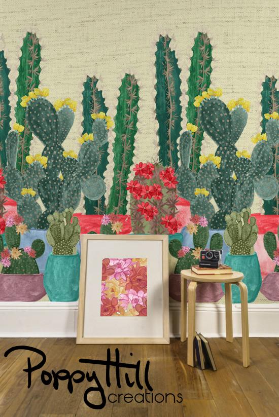 room-mock-up-summer-cactus-textured-background