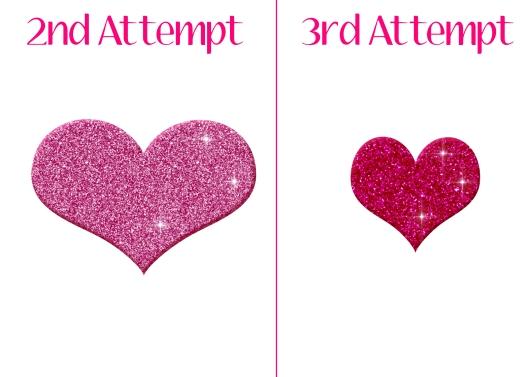 glitter heart trys