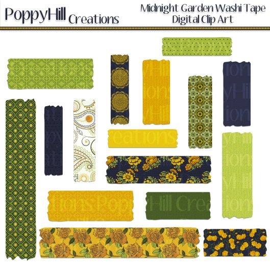 Midnight Rose Garden Washi Tape
