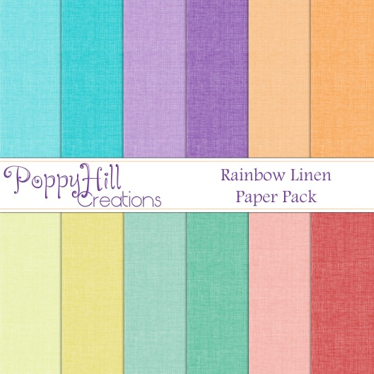 Rainbow Linen Digital Paper Pack